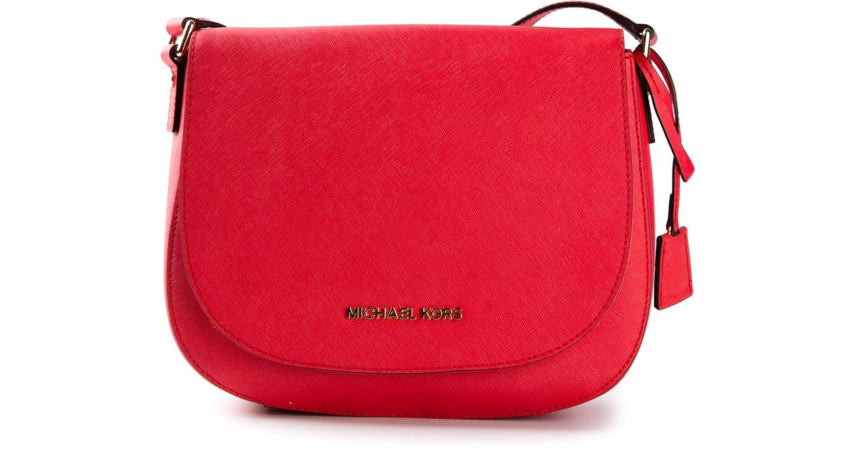 1b1b3363297c MICHAEL Michael Kors Hamilton Large Messenger Bag in Red - Lyst