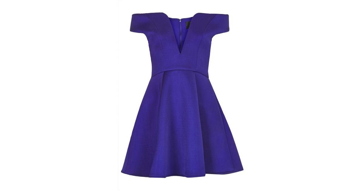 Topshop Womens Off The Shoulder Neoprene Prom Dress By Rare Purple