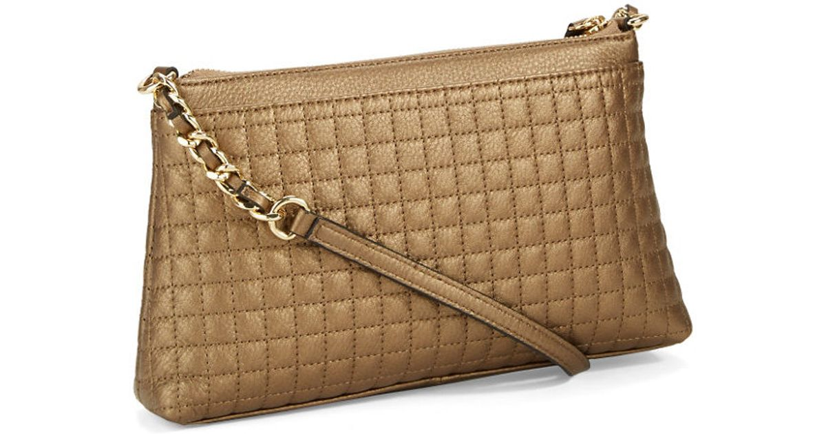 Calvin Klein Quilted Leather Crossbody Bag In Gold