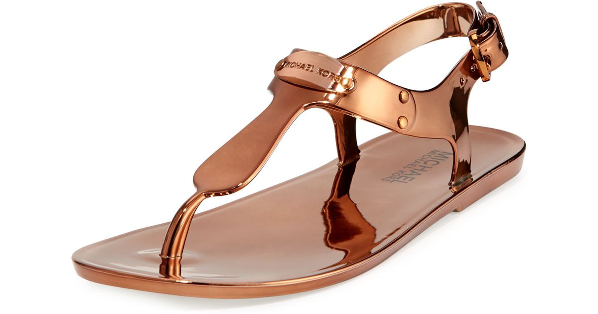 739b38a1411 Lyst - MICHAEL Michael Kors MK-Plate Jelly Sandals in Brown