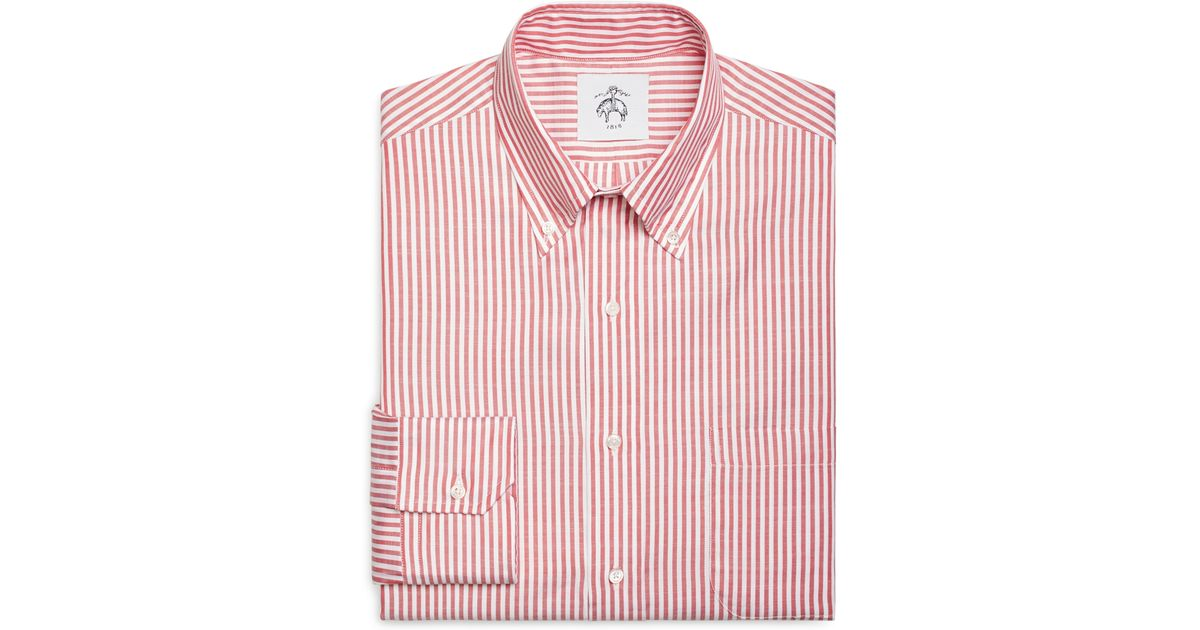 Brooks brothers red stripe button down shirt in red for for Red and white button down shirt