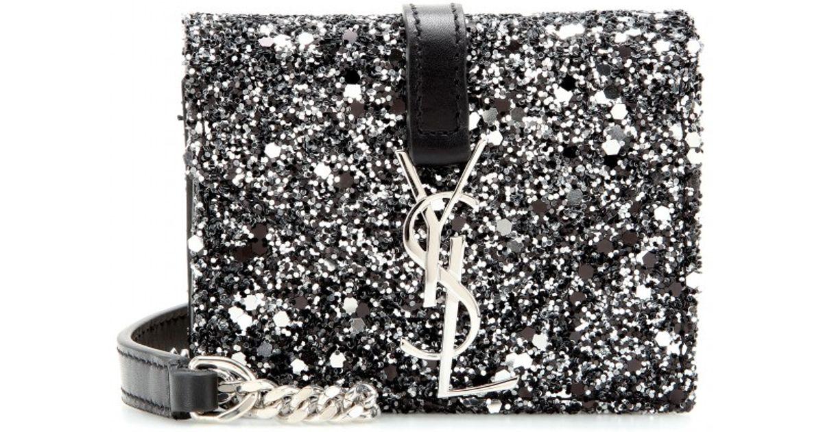 b955e4b1a176 Lyst - Saint Laurent Candy Monogram Glittered Leather Shoulder Bag in Black