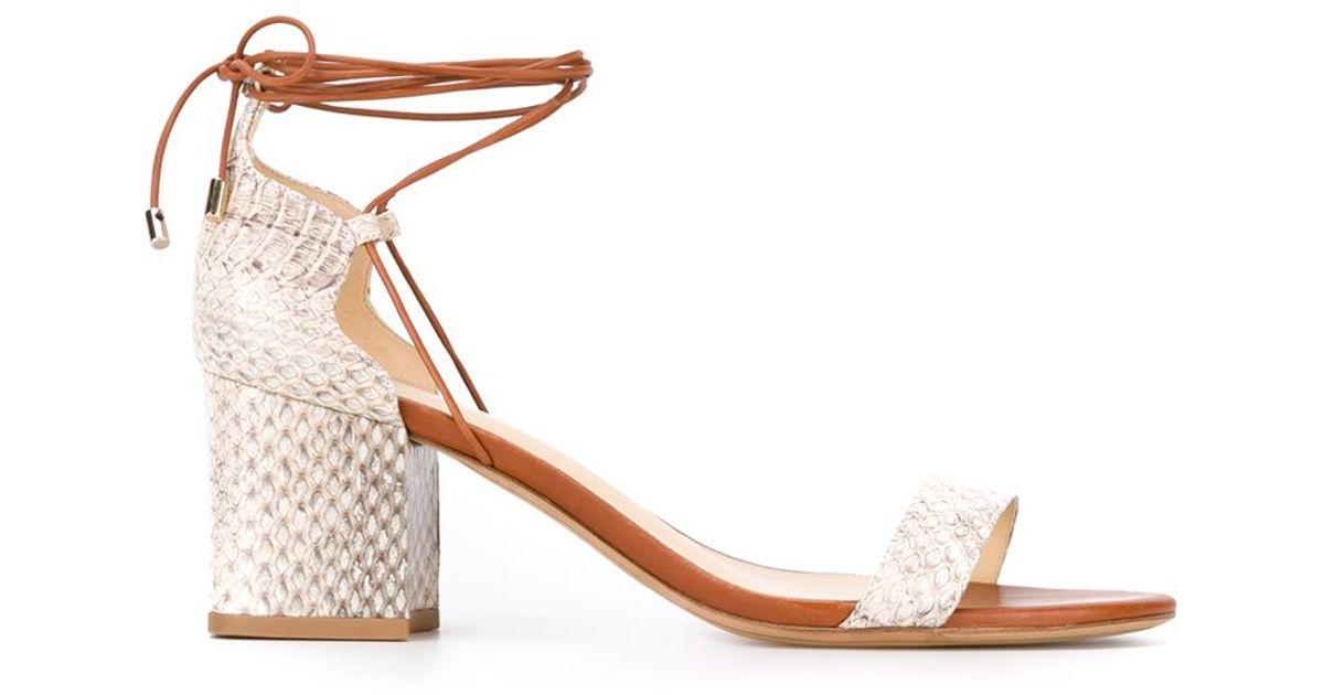 adf54972a993 Lyst - Alexandre Birman Block Heel Sandals in Natural