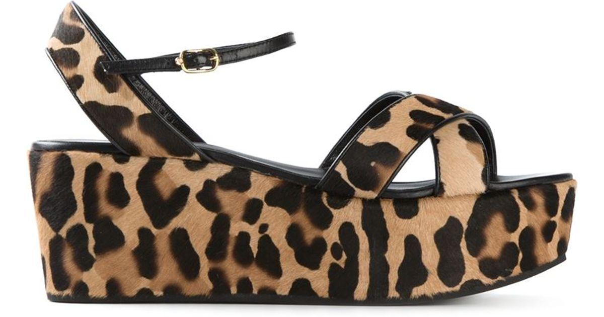 l autre chose leopard print platform sandals in brown lyst