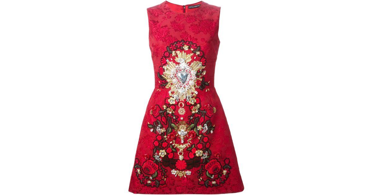 Dolce gabbana sacred heart appliqué dress in red lyst