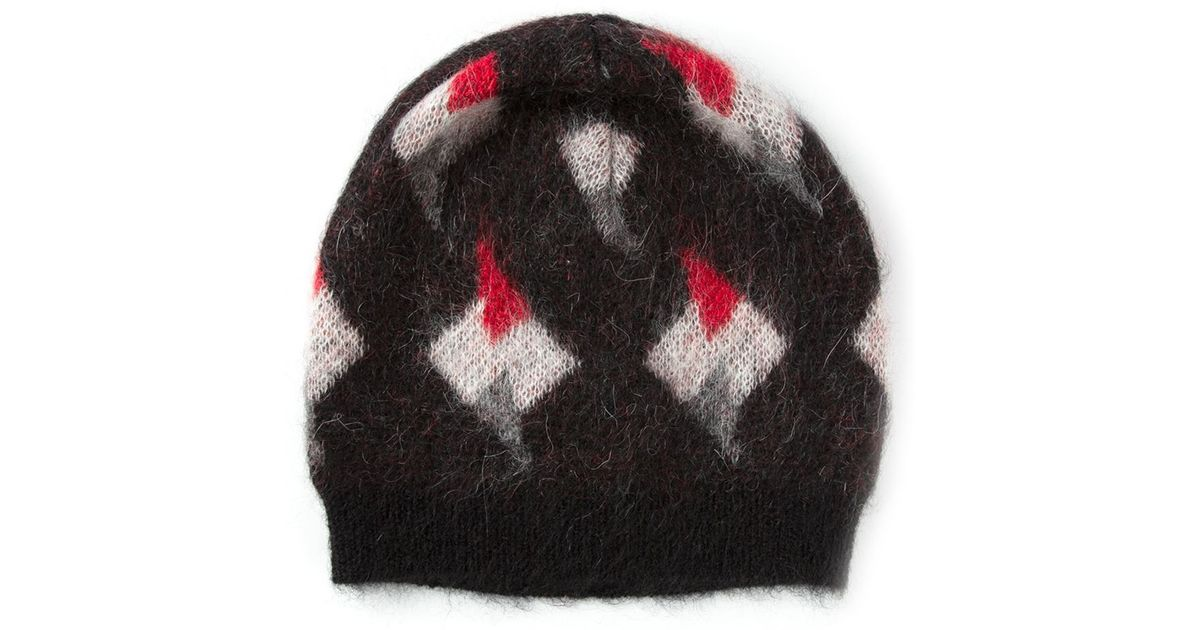 Lyst - Saint Laurent Geometric Print Beanie in Black for Men 300bc058699