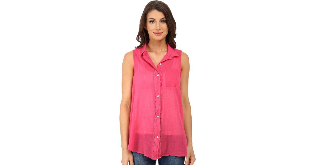 78ae6a3ec3780 Lyst - DKNY Cotton Gauze Sleeveless Boyfriend Shirt in Pink