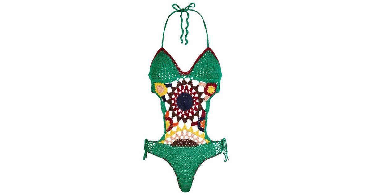 e799836c7d Tommy Hilfiger Multi-coloured Crochet Swimsuit in Green - Lyst