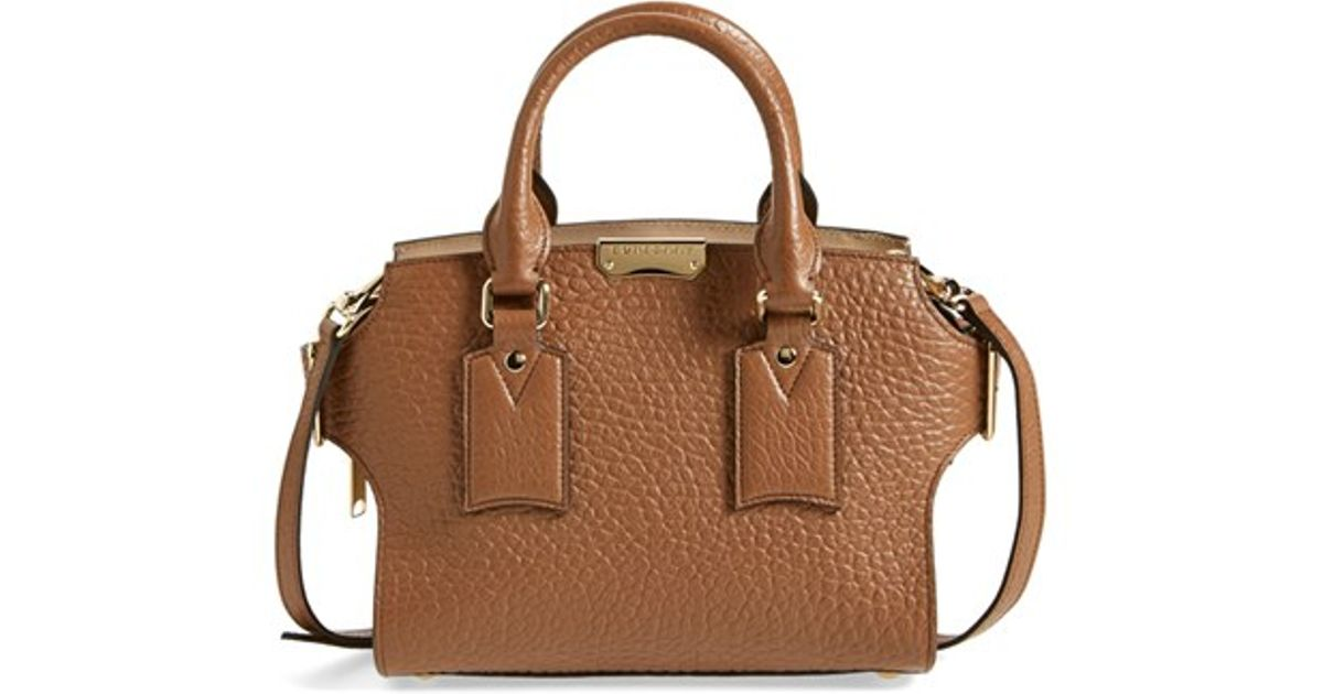 Lyst - Burberry  small Clifton  Signature Grain Leather Satchel in Brown 1f6b2a846e7f8