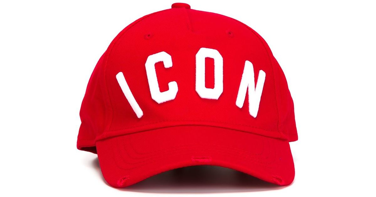 feed6897 DSquared² Icon Embossed Baseball Cap in Red for Men - Lyst