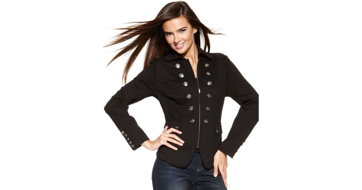 52782fa8750 INC International Concepts Petite Zipfront Military Jacket in Black - Lyst