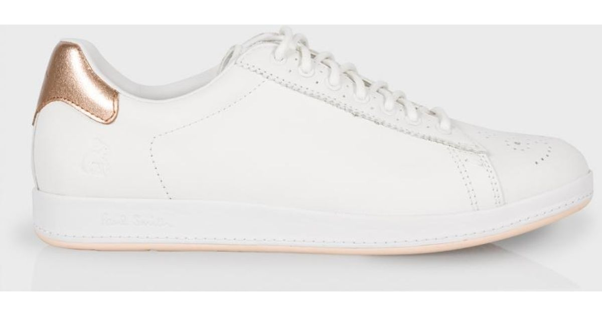 Lyst - Paul Smith Women s White Leather  rabbit  Sneakers With Gold Trims  in White 379a0f38b162