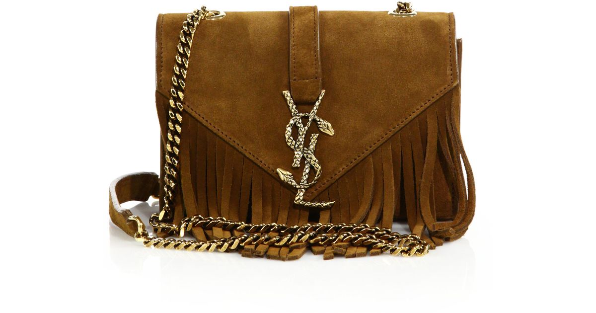 e2418d4f3a8 Saint Laurent Baby Serpent Fringed Suede Chain Crossbody Bag in Brown - Lyst