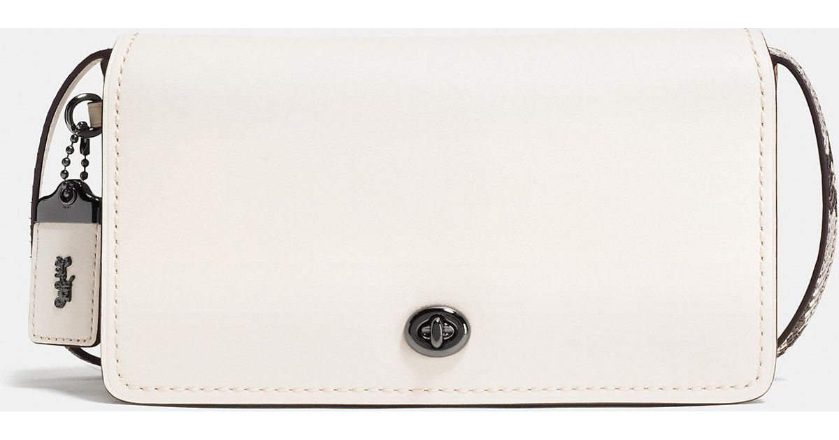 060bbb3331121 Lyst - COACH Dinky Crossbody In Colorblock Python in White