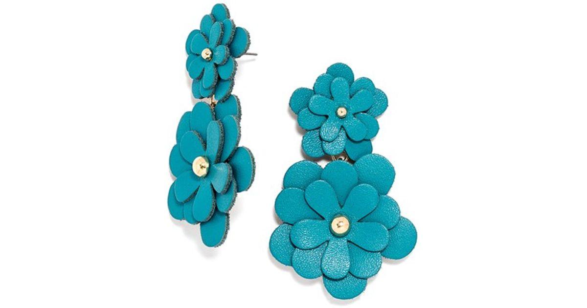 Baublebar Zoe Leather Flower Drop Earrings In Blue Blue