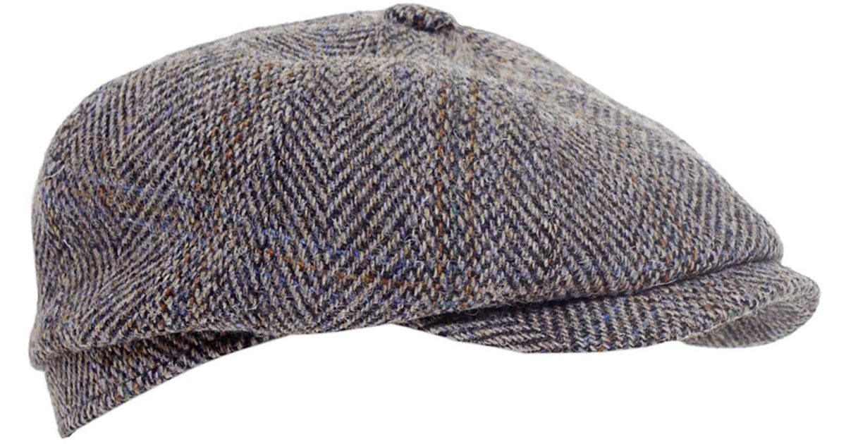 9e1a6ec7b3222 Stetson Hatteras Harris Tweed Cap in Gray for Men - Lyst