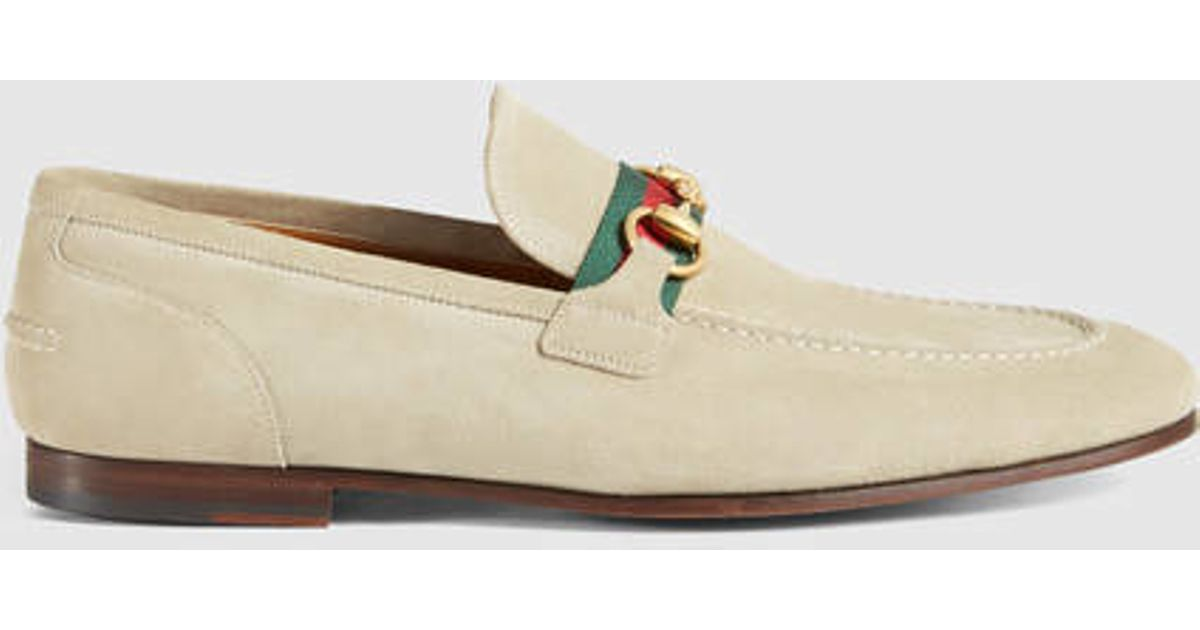 7357c6b92617ac Lyst - Gucci Horsebit Suede Loafer With Web in Natural for Men