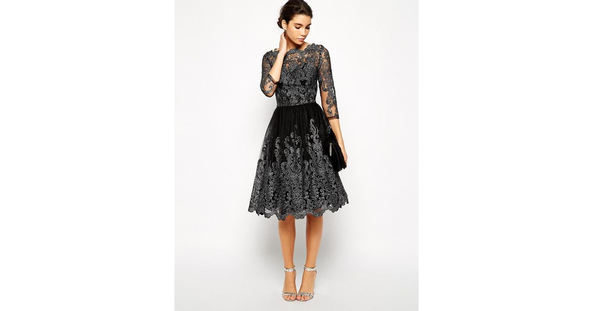 Lyst Chi Chi London Premium Metallic Lace Midi Prom Dress With