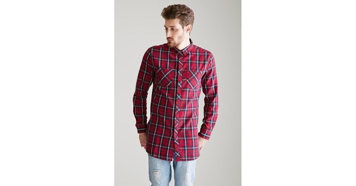 Lyst Forever 21 Longline Tartan Plaid Flannel Shirt In