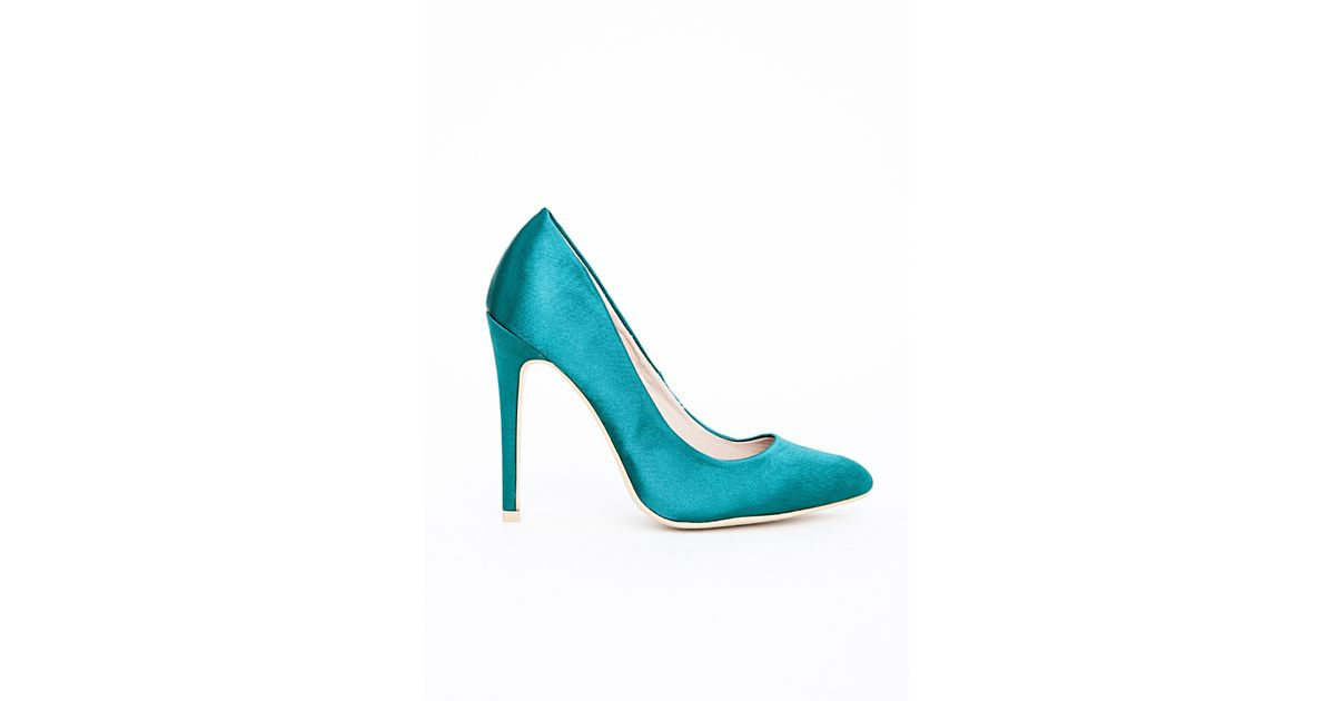 Missguided Isabel Pointed Stiletto Court Heels Teal Satin in Blue - Lyst 2107cb95461b