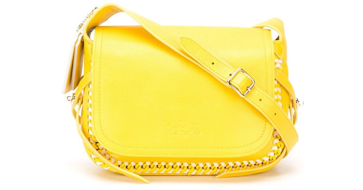 1026dcaeb1 ... discount code for coach whiplash pop leather cross body bag in yellow  lyst 90aa3 a4873