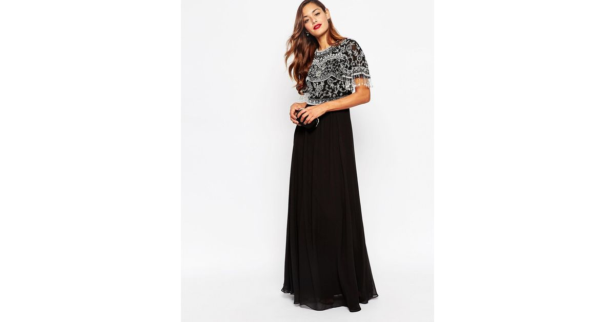 Lyst Asos Beautiful Embellished Maxi Dress With Sequin Fringe