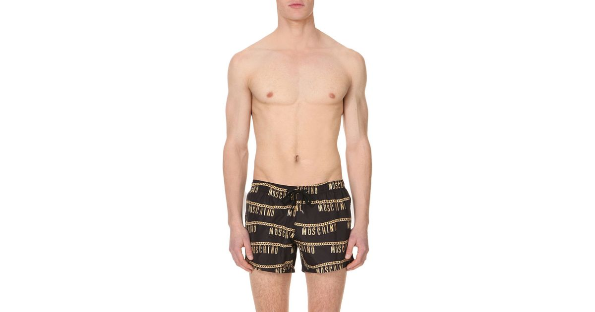 d3dacb456 Lyst - Moschino Plus Size Chain-print Swim Shorts in Black for Men