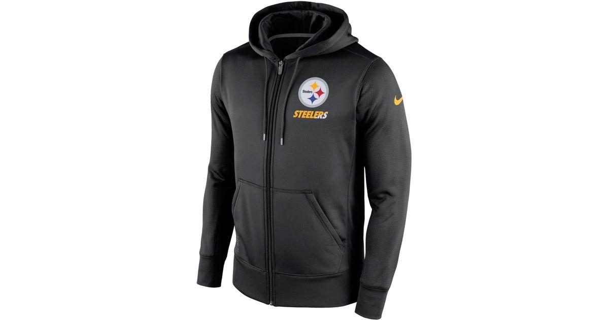Lyst - Nike Men s Pittsburgh Steelers Sideline Ko Fleece Full-zip Hoodie in Black  for Men f4cc36ba8