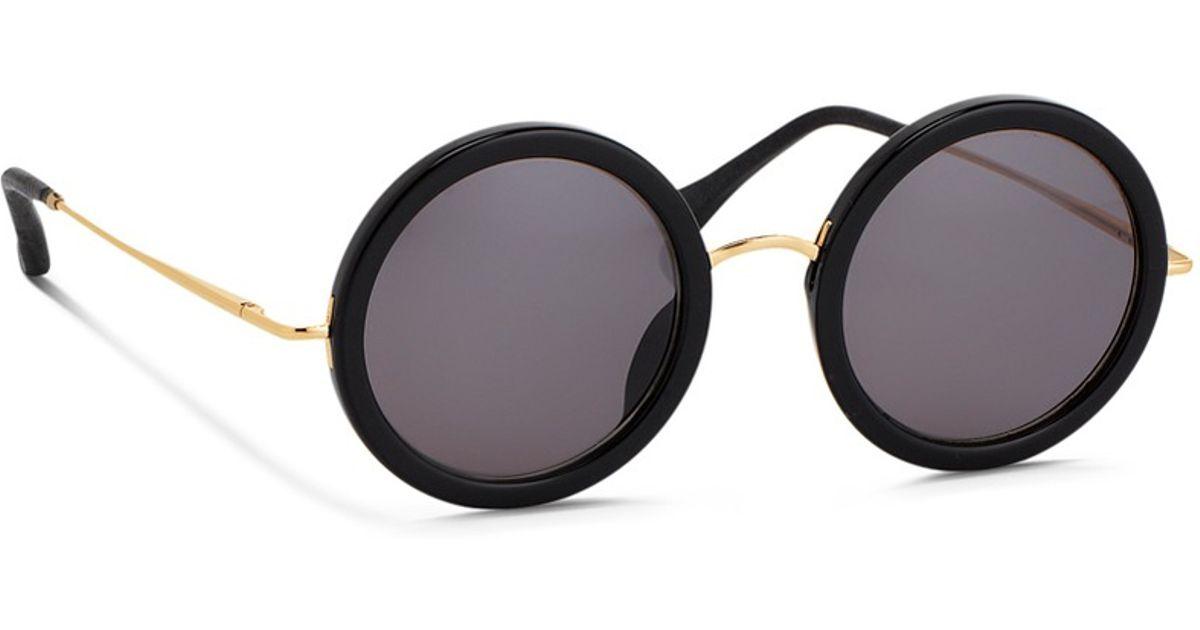 4c46e0bc838a Lyst - The Row X Linda Farrow Wire Temple Round Acetate Sunglasses in Black