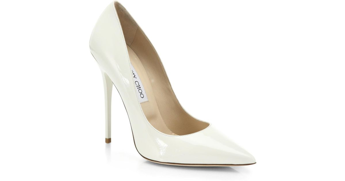 Lyst - Jimmy Choo Anouk Patent Leather Point-toe Pumps in White