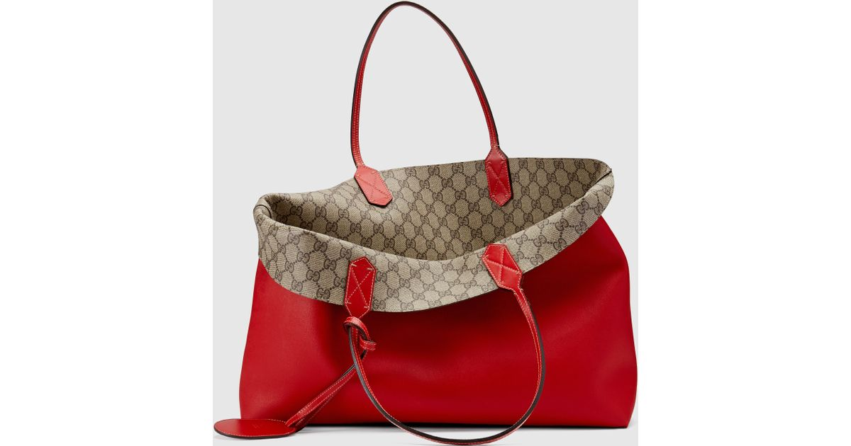 1b0f48b94bf8a2 Gucci Reversible Gg Leather Tote in Red - Lyst