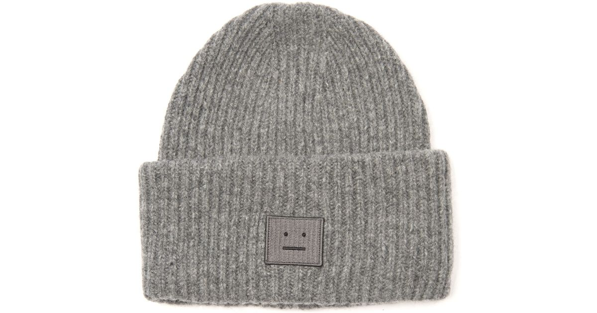 Lyst - Acne Studios Pansy Ribbed-Knit Wool Beanie in Gray f9230935cb2