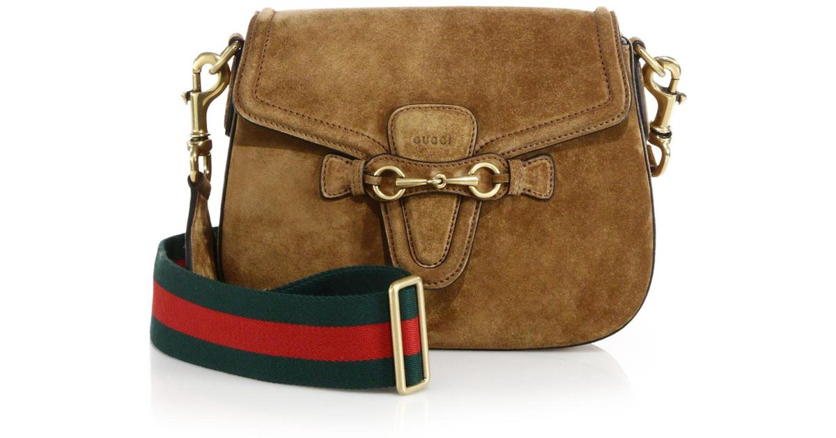 a79cd226493 Lyst - Gucci Lady Web Suede Shoulder Bag in Brown