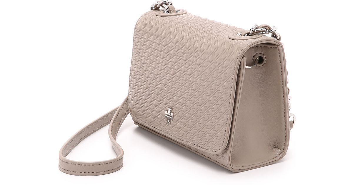 a9f4b3bbf572 Lyst - Tory Burch Marion Embossed Shrunken Bag - French Grey in Gray