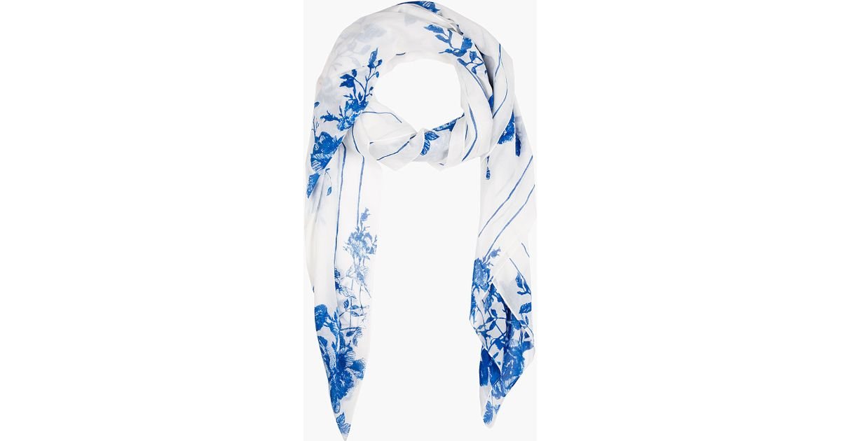 Lyst Mcq White And Blue Floral Scarf In Blue