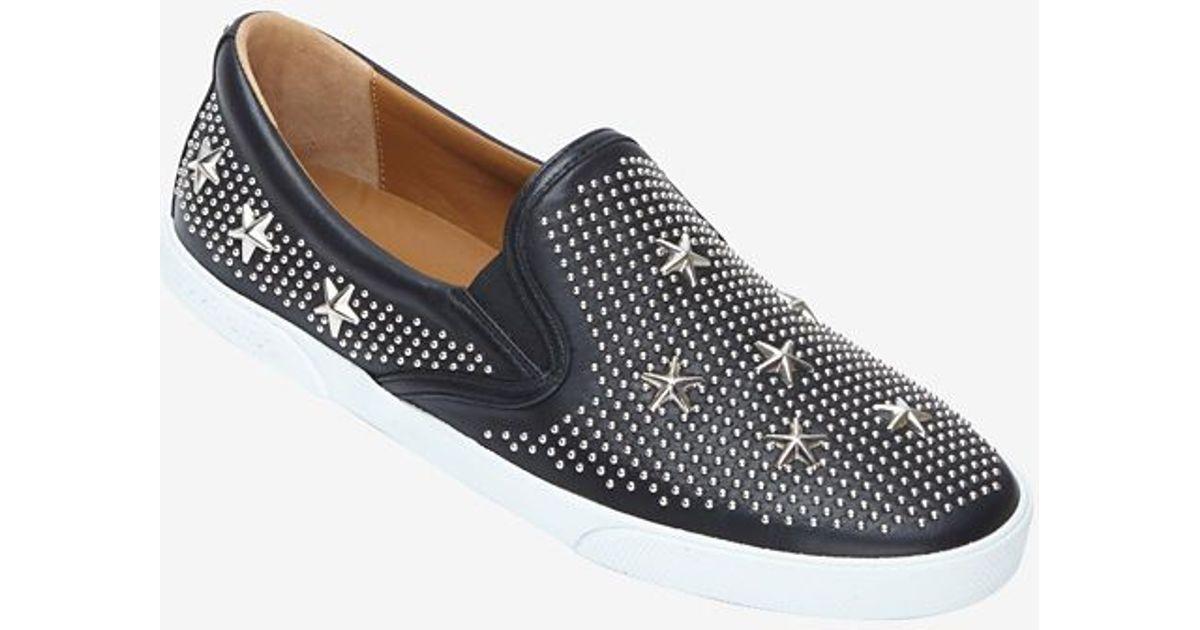 deeb0bcb8440 Lyst - Jimmy Choo Star Studded Slip On Sneakers in Black