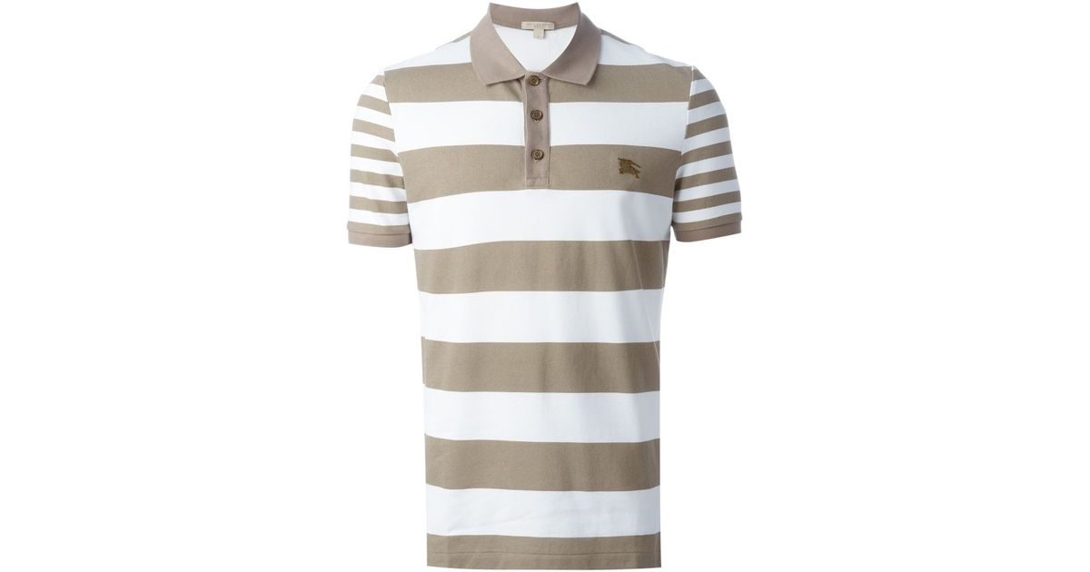 8fab9e329 Burberry Brit Striped Polo Shirt in Natural for Men - Lyst