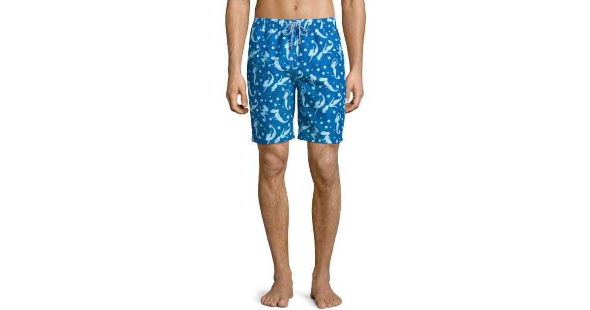 a66932592c Peter Millar Mermaid-print Swim Trunks in Blue for Men - Lyst