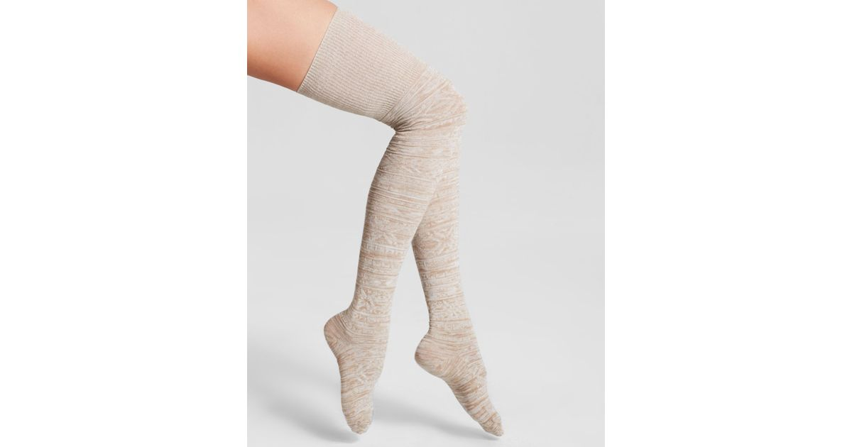 Hue Fair Isle Space-Dyed Over-The-Knee Socks in White | Lyst