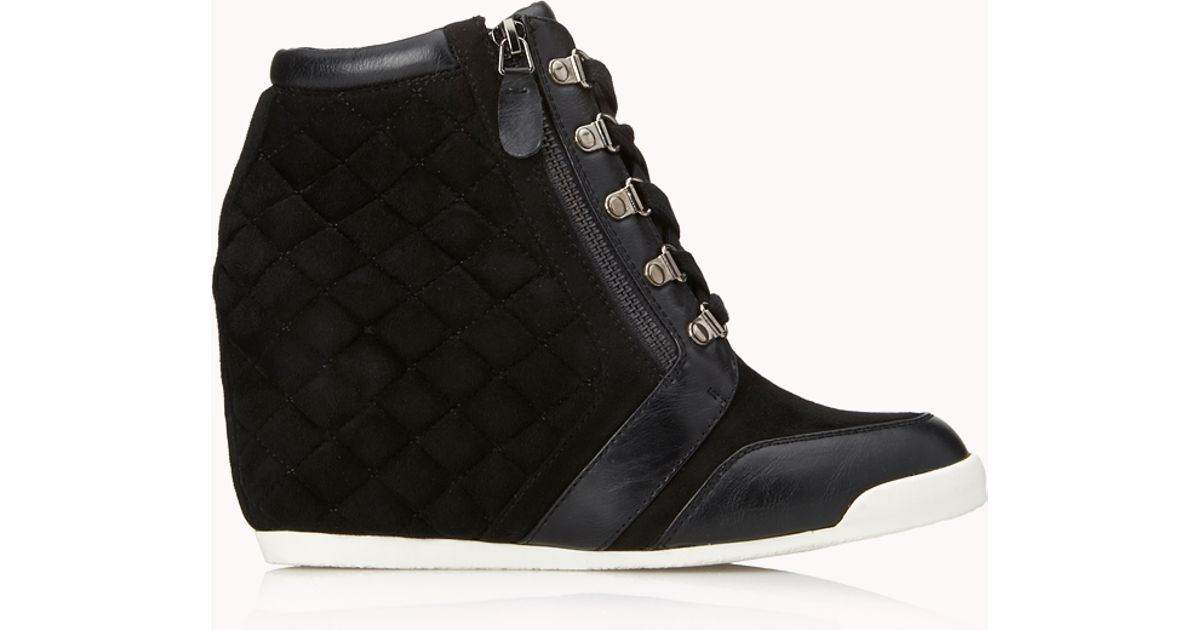 7bfcdffbd9d Lyst - Forever 21 Pretty-tough Wedge Sneakers in Black