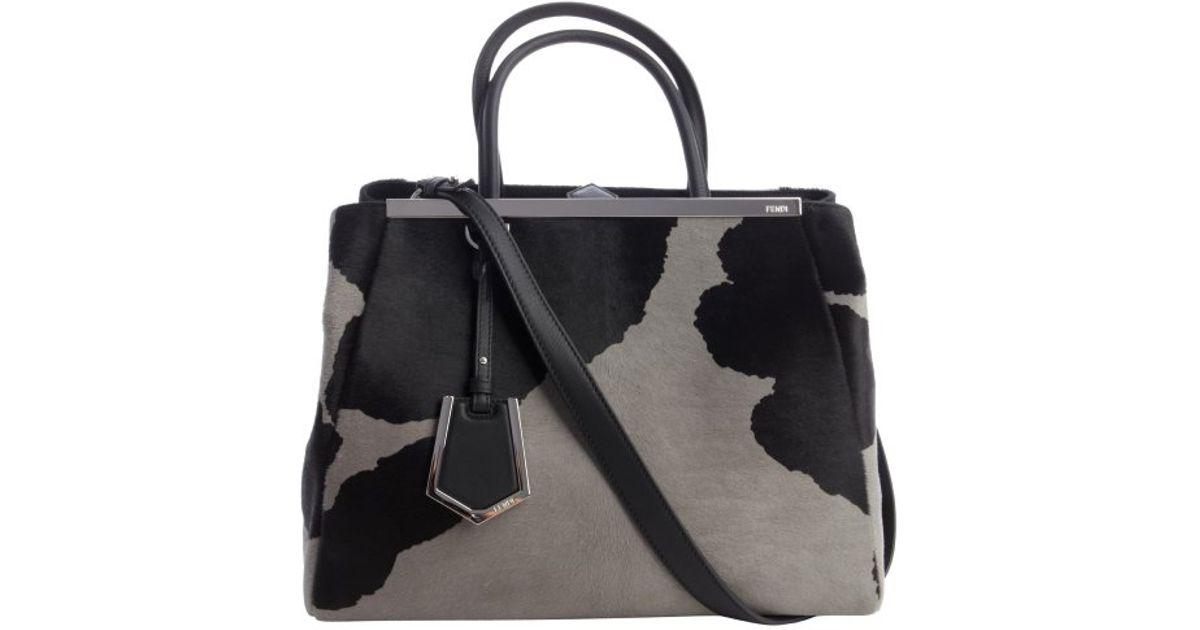 260d22451af8 Lyst - Fendi Black And Grey Calf Hair  2Jours  Medium Shopper Tote in Black
