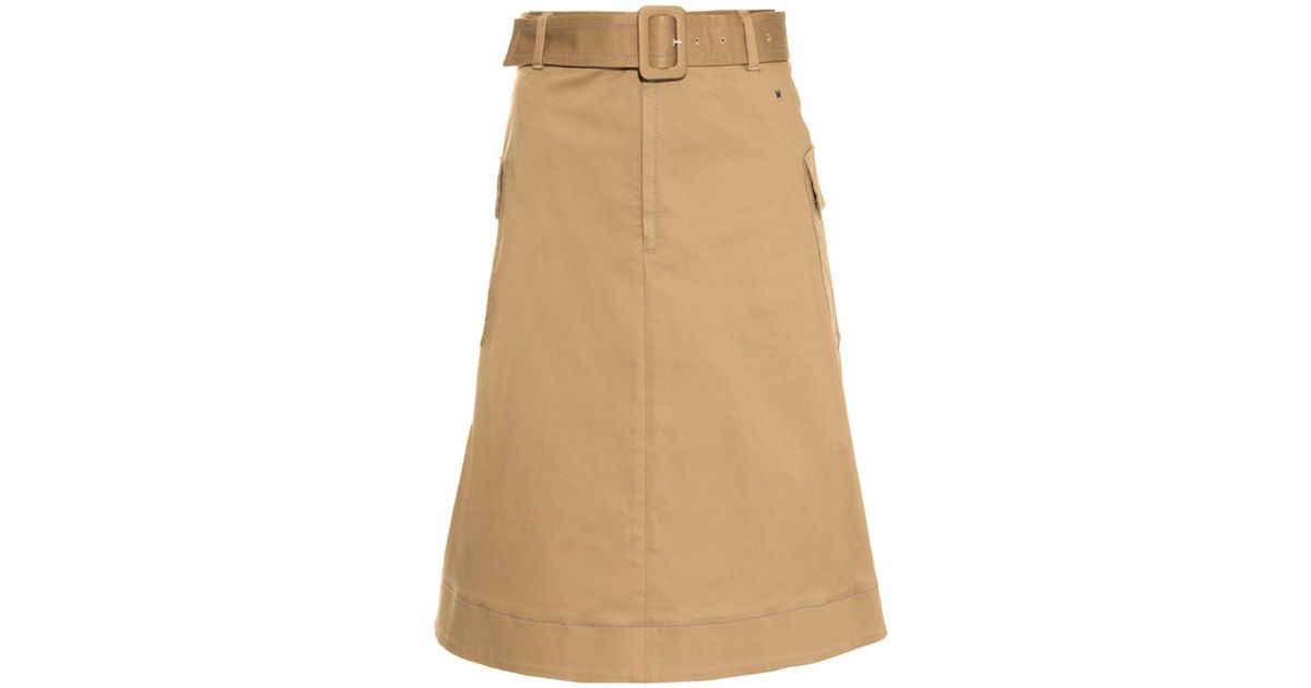 76ab0522a MUVEIL A-Line Cotton-Twill Skirt in Brown - Lyst