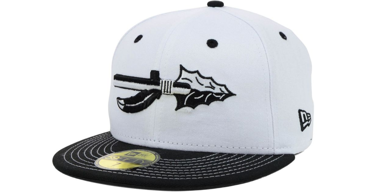 new arrival 88ef6 f21d5 KTZ Florida State Seminoles Ncaa White Black 59fifty Cap in Black for Men -  Lyst