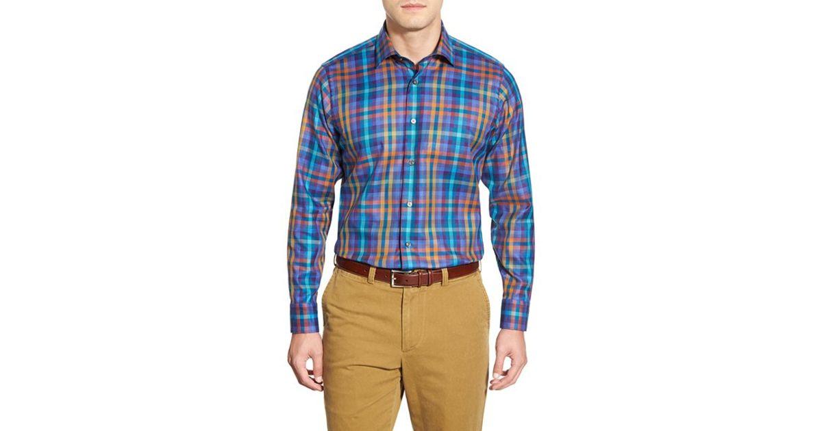 Robert talbott 39 crespi 39 tailored fit plaid sport shirt for for Robert talbott shirts sale