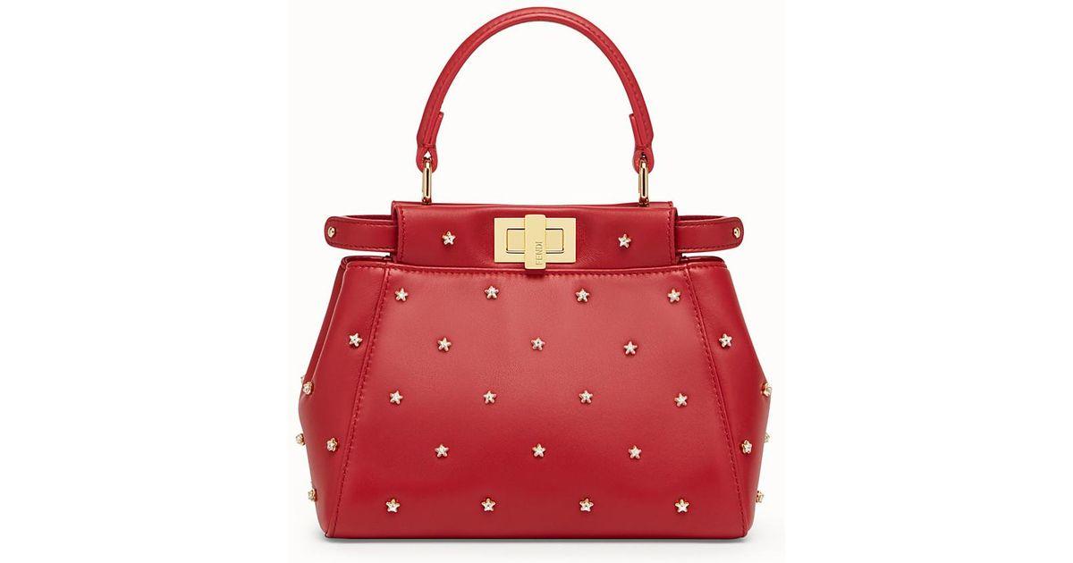 89112ad41750 Lyst - Fendi Peekaboo Xs in Red