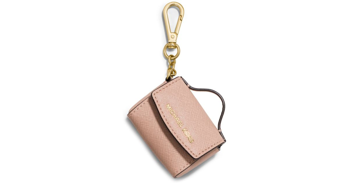 Lyst - Michael Kors Ava Saffiano Leather Coin Purse Key Chain in Natural c79be6aa4fe2c