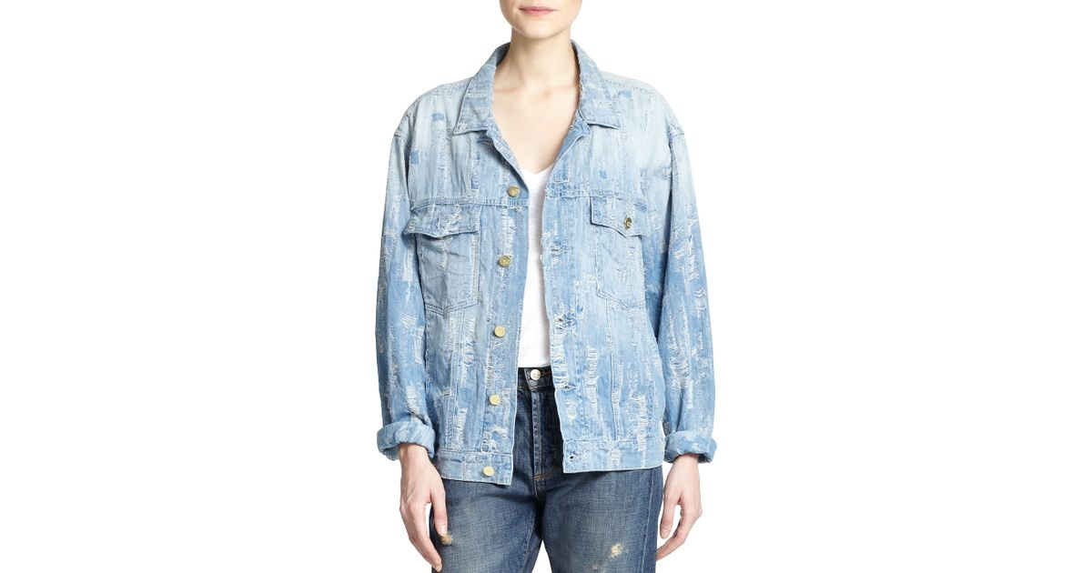 madegold distressed denim jacket in blue lightblue  lyst