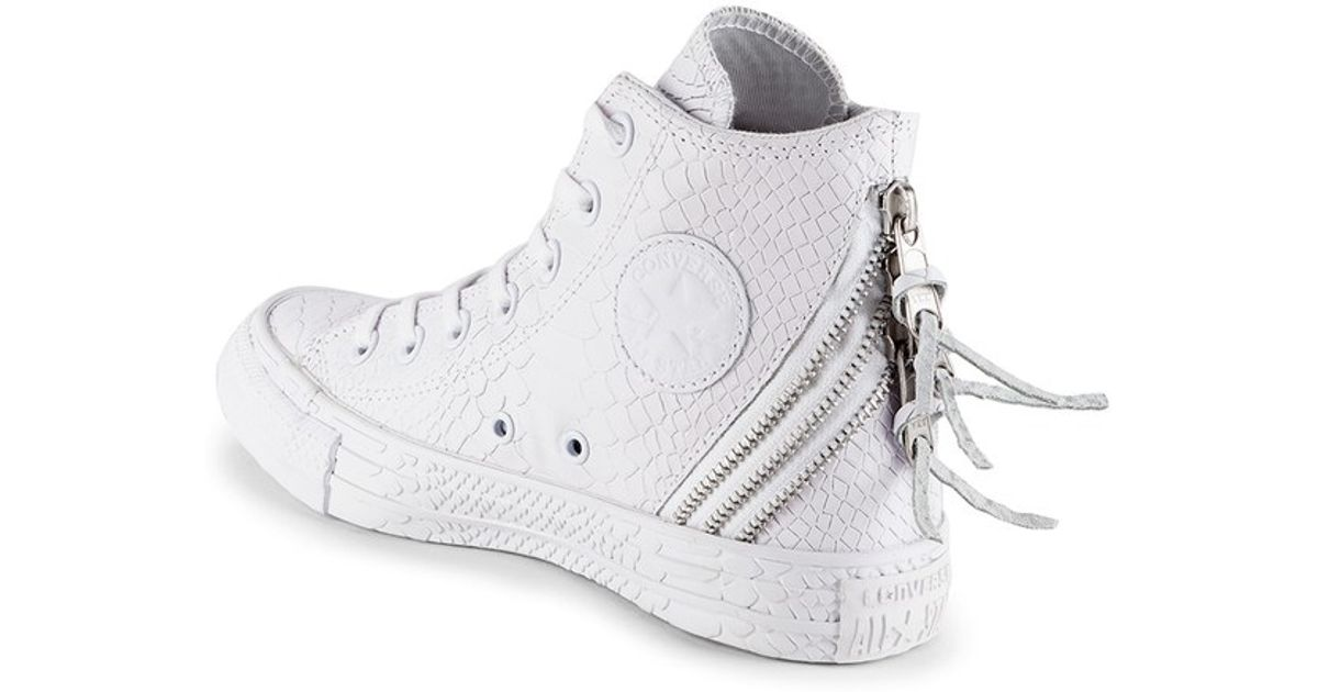 7443b9d46e91e0 Converse Women S Chuck Taylor All Star Leather Tri-Zip Hi-Top Trainers-  White in White - Lyst