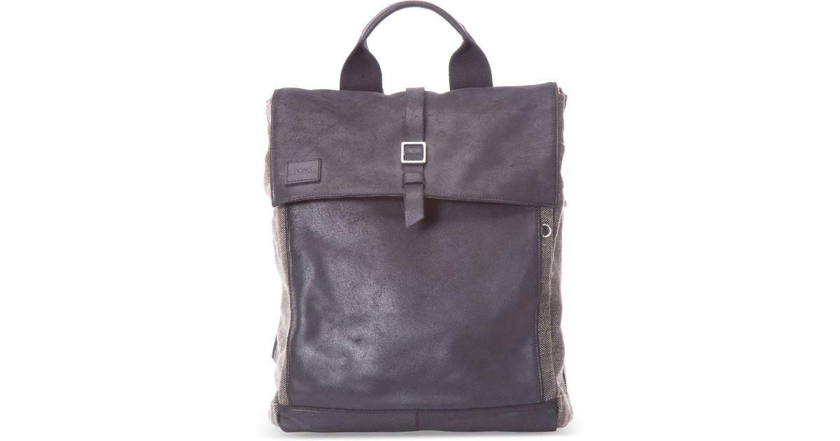 Toms Black Leather Canvas Caravan Backpack in Black - Lyst 9ac709c6393