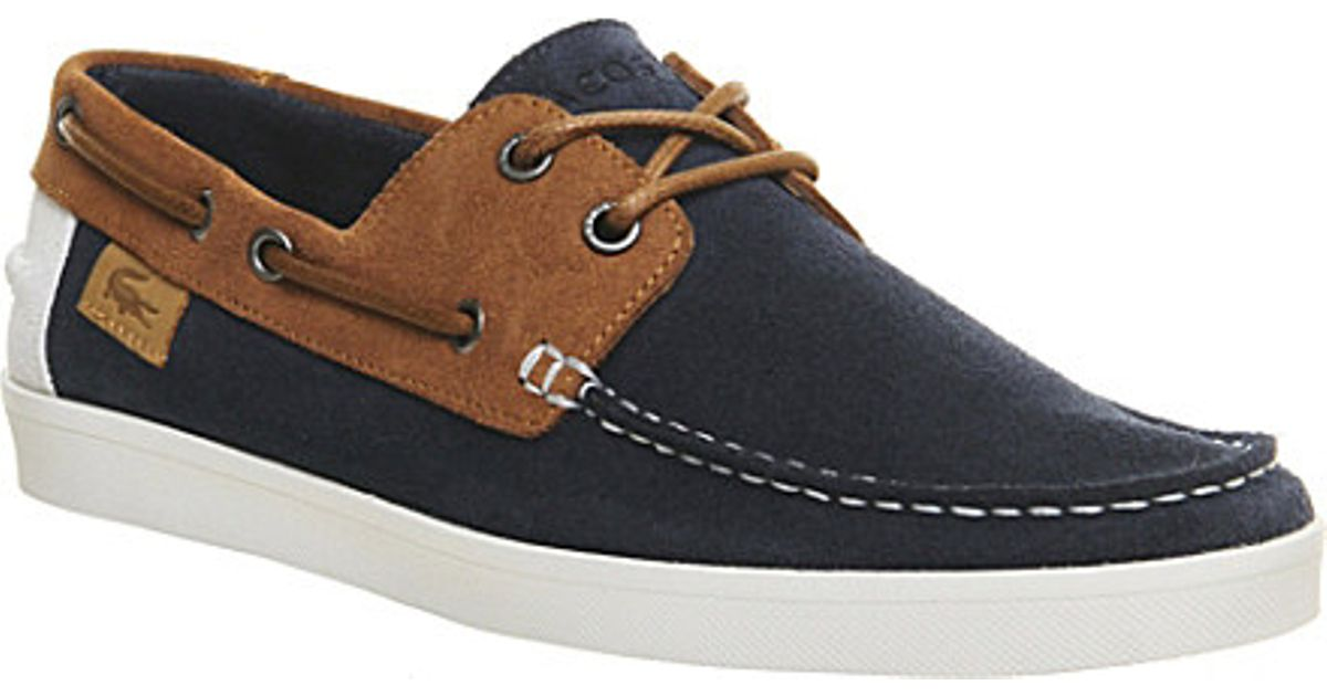 408e9dd4d6d2c Lacoste Keellson Suede Boat Shoes - For Men in Blue for Men - Lyst